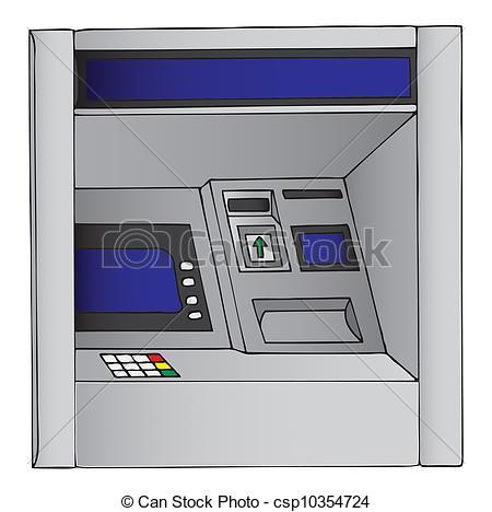 Clip Art of Illustration of an ATM, cash machine csp10354724.