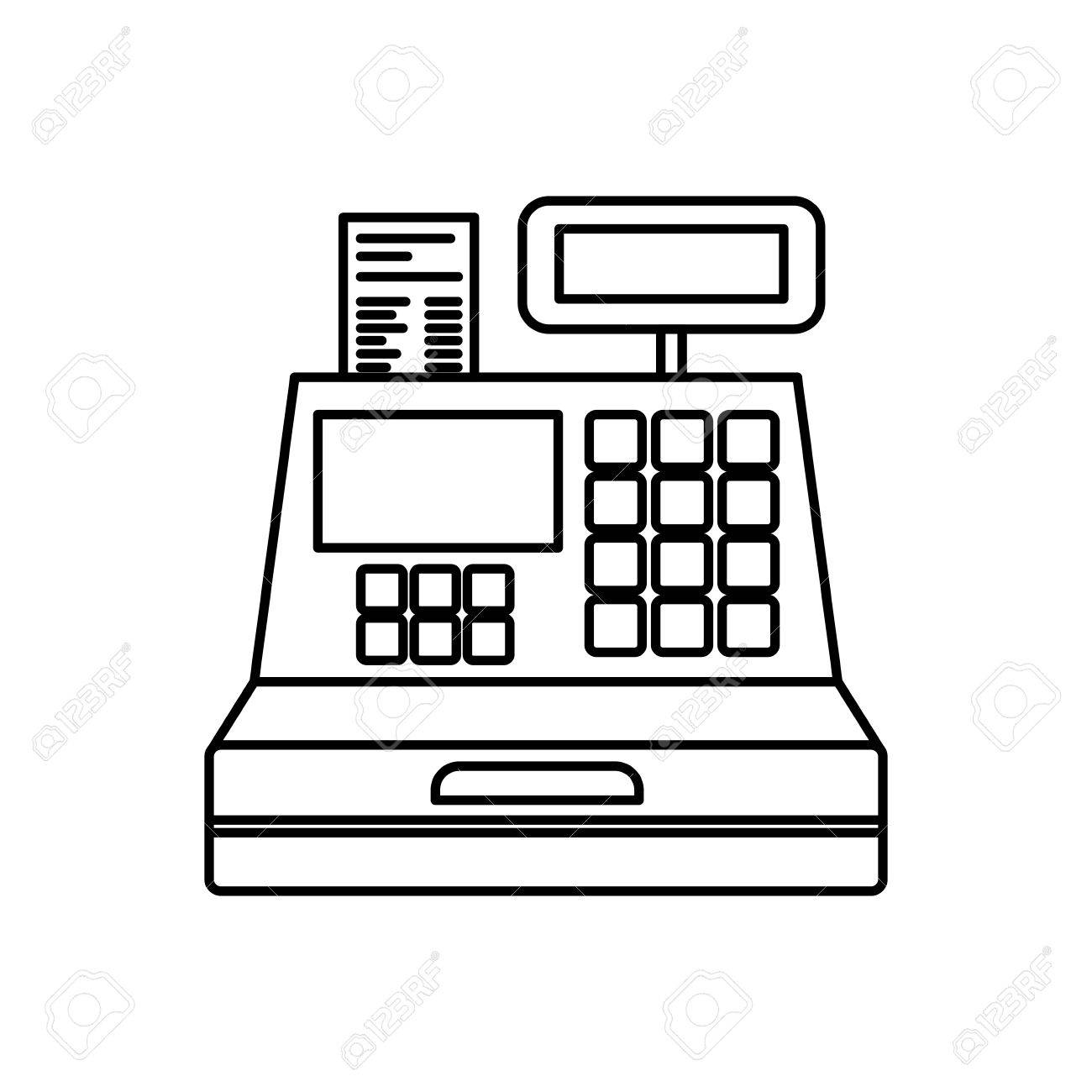 black silhouette of cash register vector illustration.