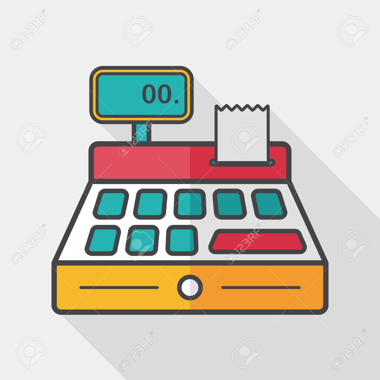 shopping cash register flat icon with long shadow,.