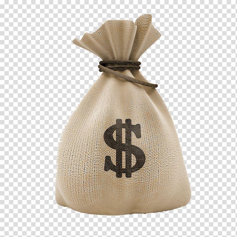 Brown cash bag, Money bag Investment United States Dollar.