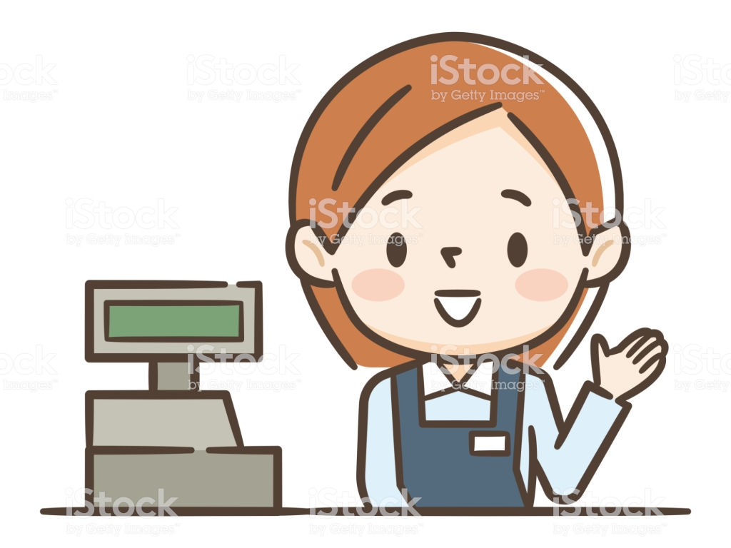 Cashier Girl In Supermarket Clipart Image Isolated On White.