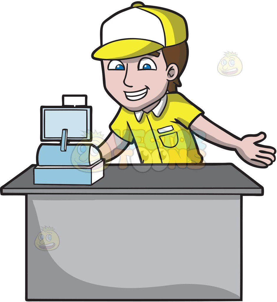 Fast Food Cashier Clipart.