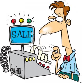 Cartoon of a Cashier.