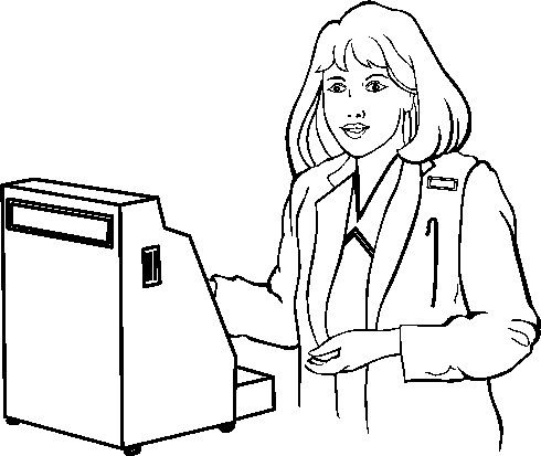 Cashier clipart black and white, Cashier black and white.
