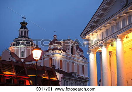 Stock Photography of The Church of St. Casimir and the town hall.