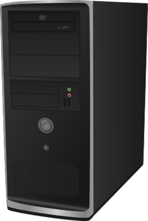Slim computer tower clipart.