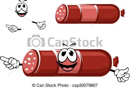 Vector Clipart of Cartoon beef sausage in red casing.