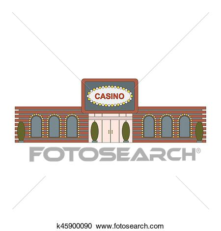 Casino building element for game, mobile app or web ui design. The facade  of the main entrance to the building casino. Vector illustration Clipart.