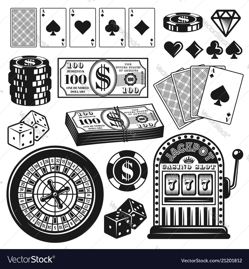 Poker and casino gambling objects design elements.