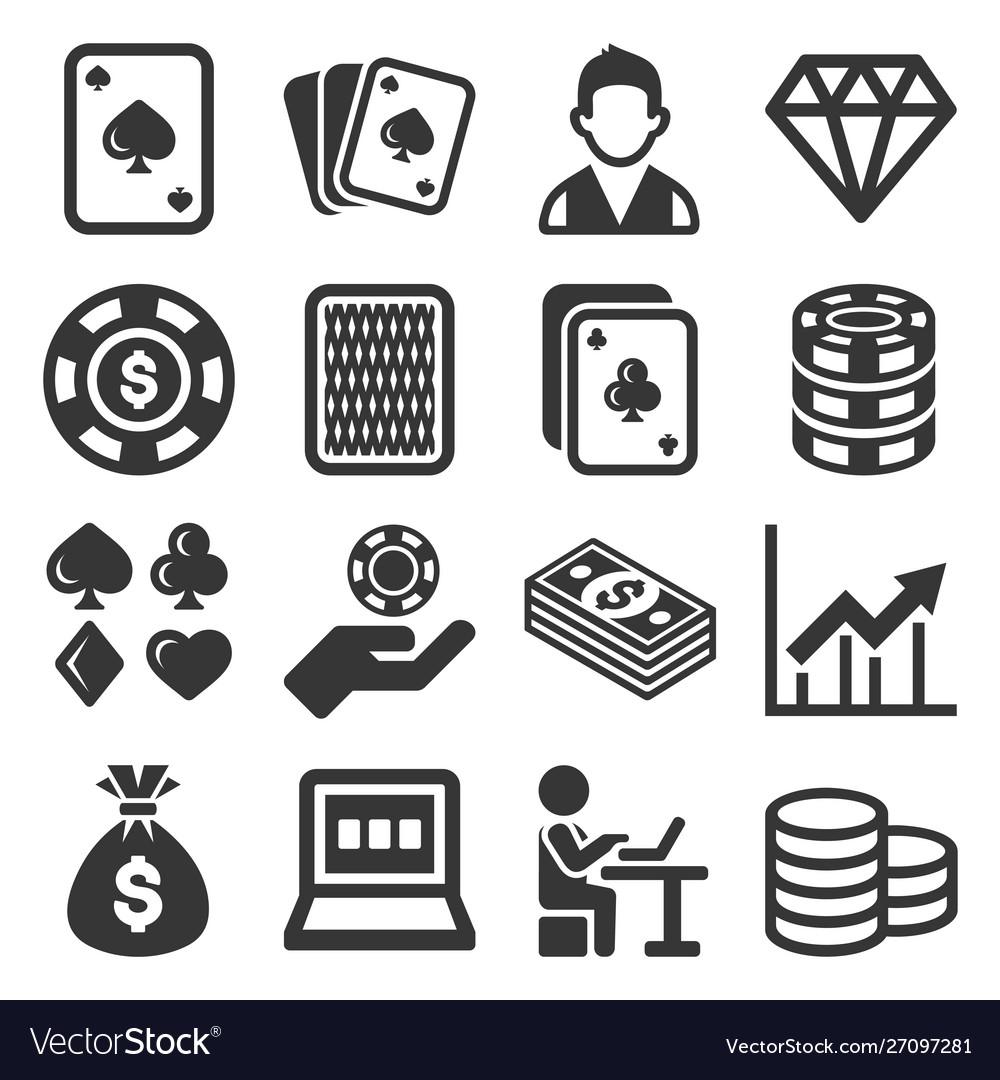 Poker casino gambling icons set on white.