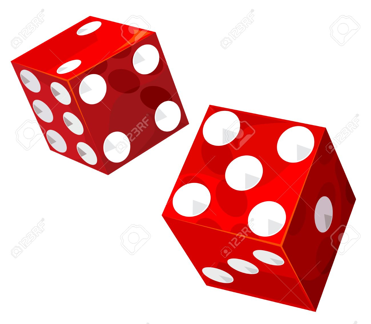 Casino dice. Vector without gradients and transparencies..