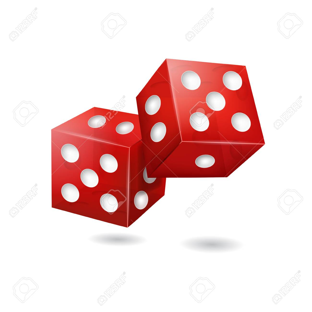 Realistic 3d Red Casino Dice. Vector.