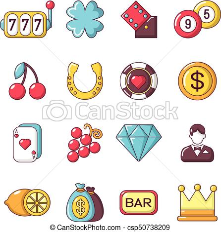 Casino icons set, cartoon style.