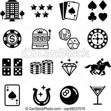 Casino icons. Vector illustrations..