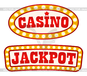 Jackpot and Casino Signboards Retro Style Vintage.