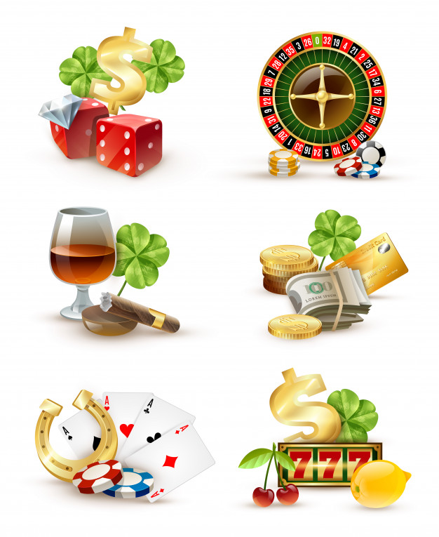 Casino symbols attributes 6 icons set Vector.