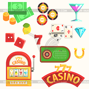 Gambling And Casino Night Club Set Of Symbols,.