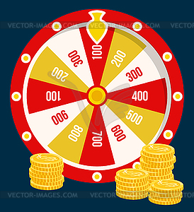Fortune Wheel, Golden Coins, Casino Gambling Game.