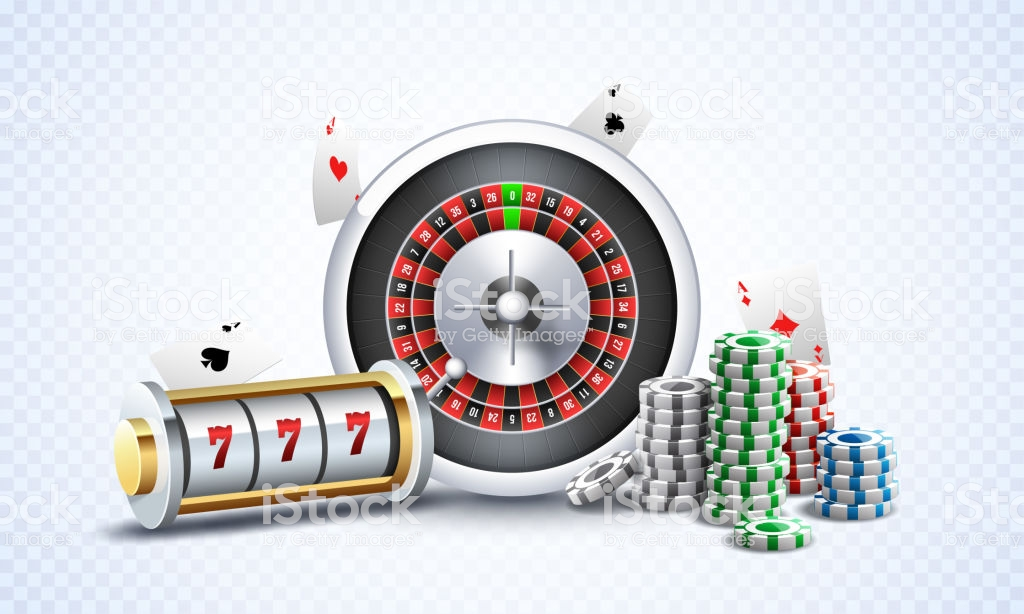 Realistic Slot Machine With Roulette Wheel Casino Chips And Playing.