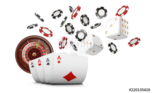 Playing cards and poker chips fly casino. Casino roulette concept on.