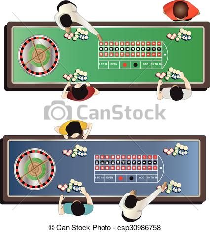 Clipart Vector of Casino furniture , roulette table top view set 1.