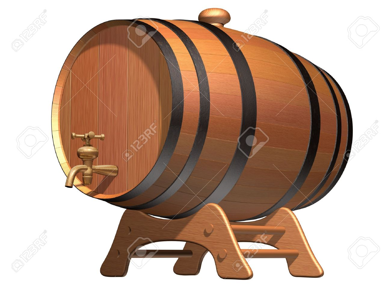 Isolated Illustration Of A Wooden Beer Barrel With A Brass Tap.