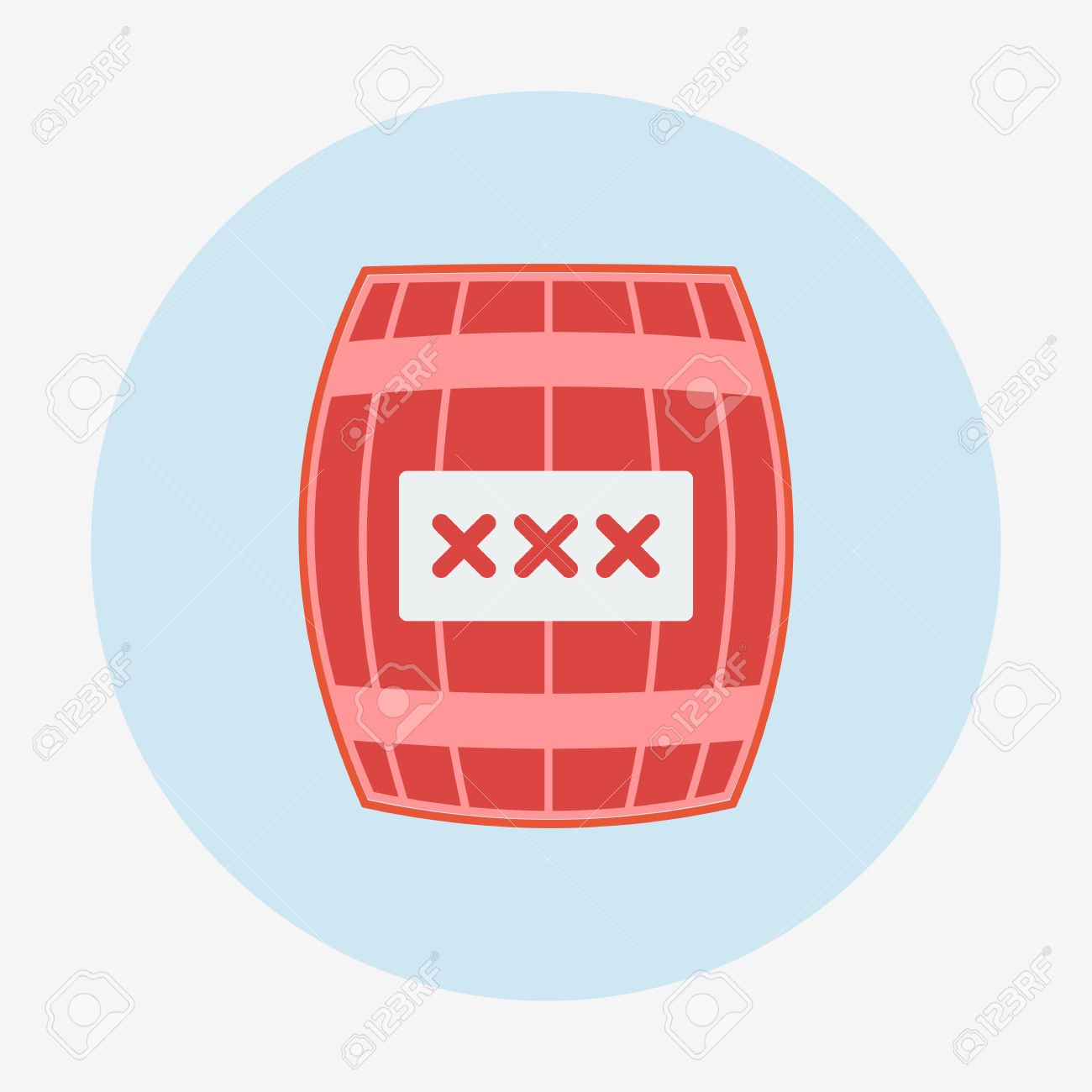 Pirate Icon, Cask Or Barrel. Flat Design Style Modern Vector.