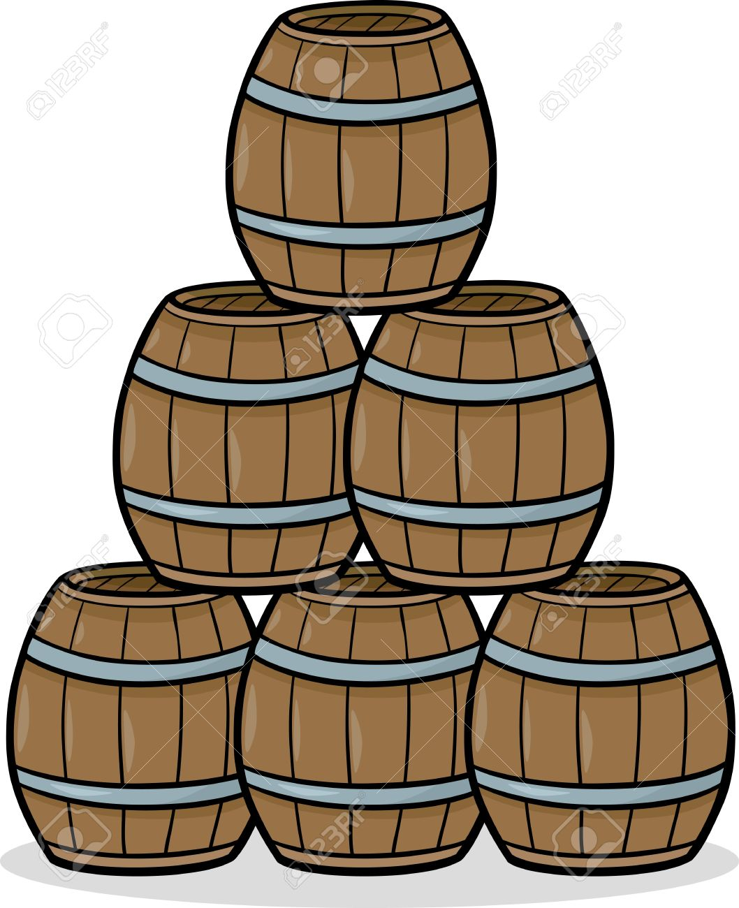 Cartoon Illustration Of Wooden Barrels In A Heap Royalty Free.