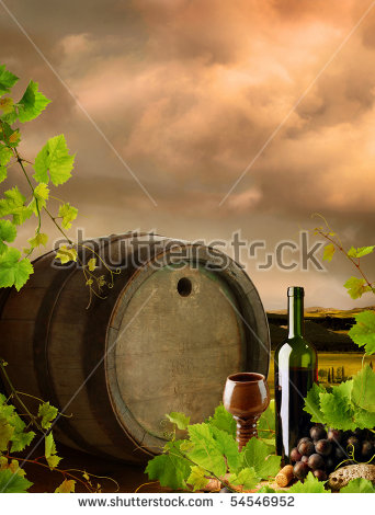 Wine Barrel Grapes Vineyard Vintage Style Stock Photo 70084468.