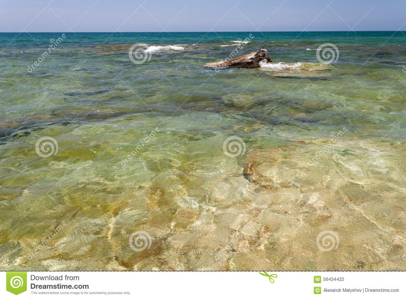 Caspian Sea In The Summer. Stock Photo.