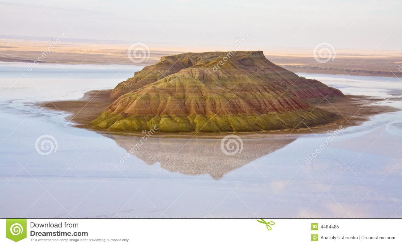 Island Salt Hill In Caspian Sea Of Mangistau Royalty Free Stock.