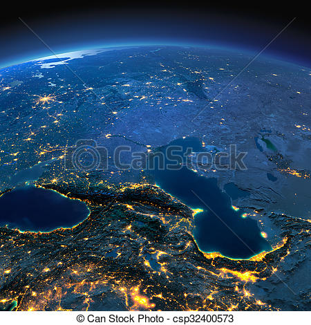 Stock Illustrations of Detailed Earth. Caucasus and the Caspian.