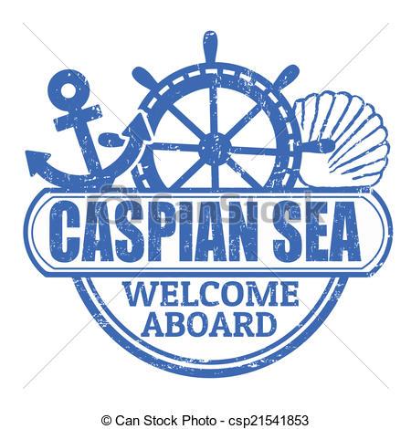 Clipart Vector of Caspian Sea stamp.