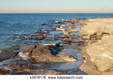 Stock Images of Winter shore of the Caspian Sea. k5516176.