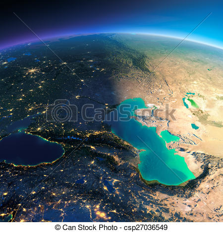 Drawing of Detailed Earth. Caucasus and the Caspian Sea.