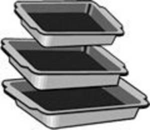 Clipart Picture of Graduated Sizes of Baking Pans.