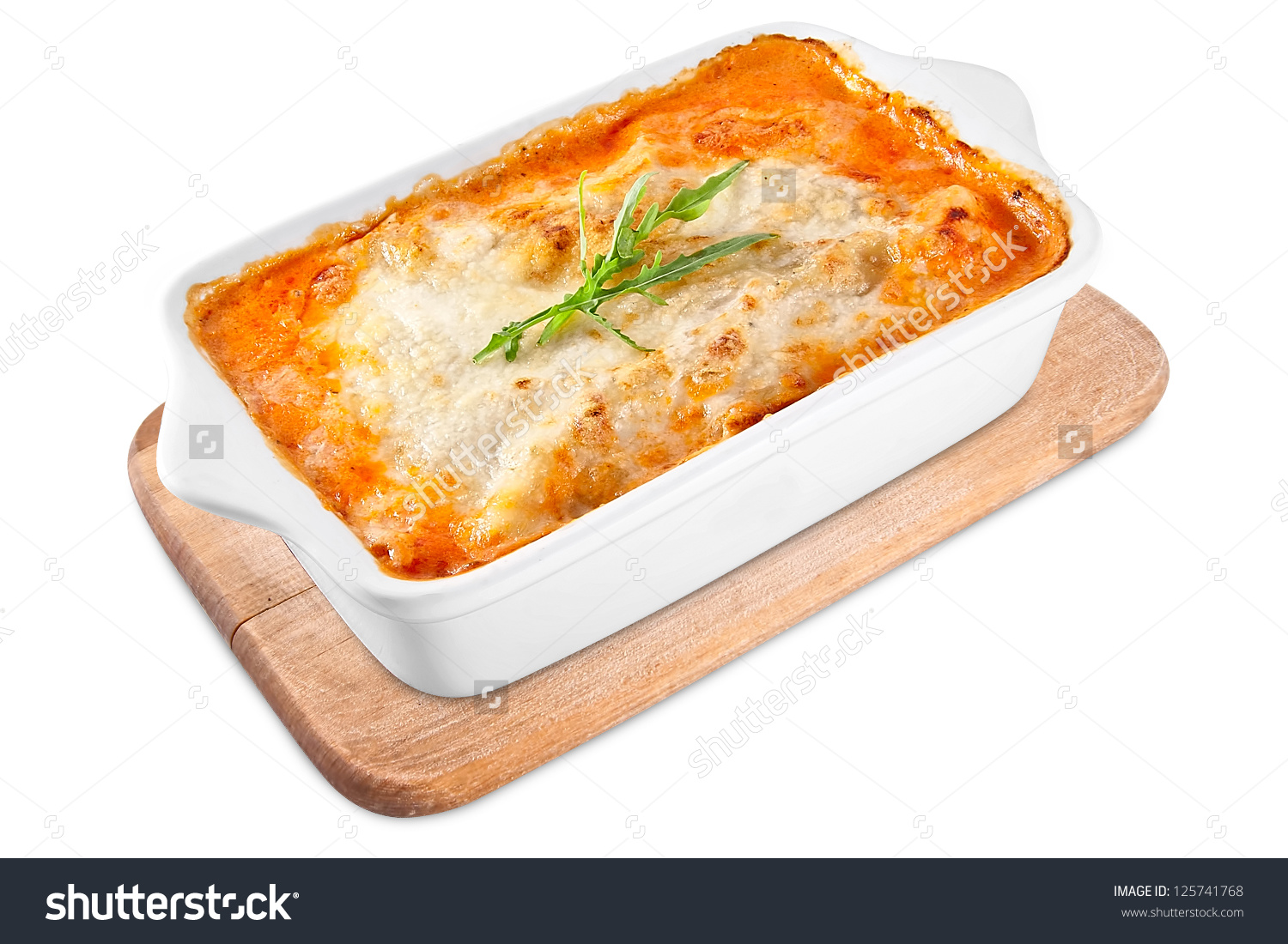 Baked Lasagna Ceramic Casserole Dish Stock Photo 125741768.