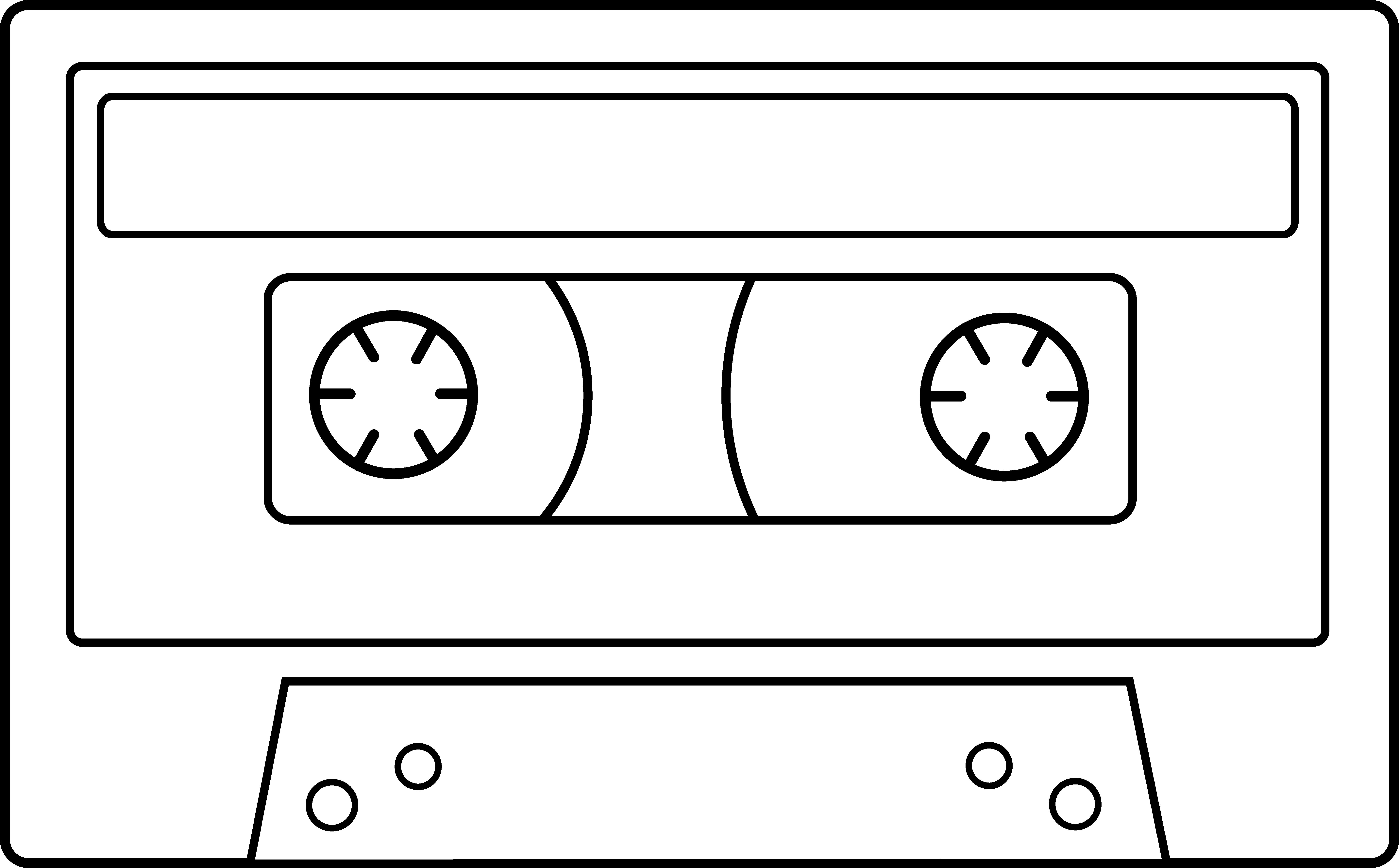 Blank Cassette Tape Line Art.