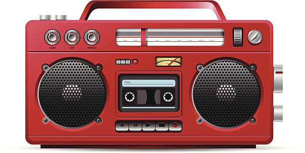 Red retro stereo cassette player illustration » Clipart Station.