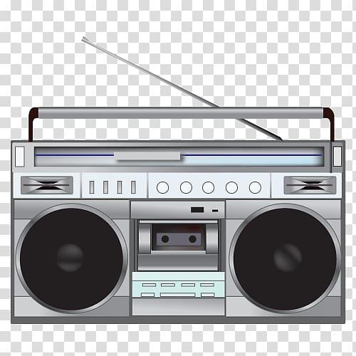 Gray and black cassette player , Radio , Radio transparent.