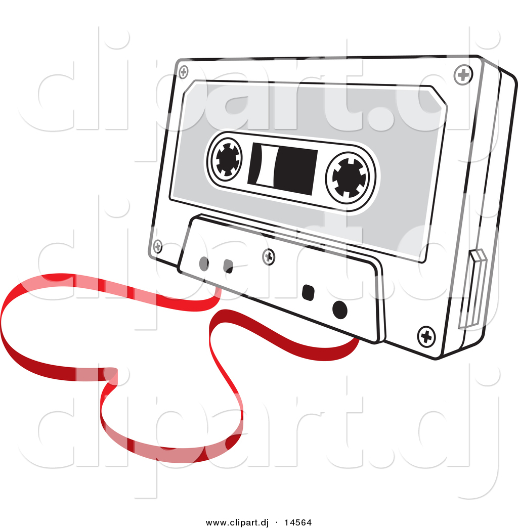 Vector Clipart of a Cassette Tape with Film Forming Love Heart by.