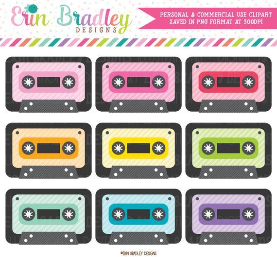 Cassette Tape Clipart Set 80's Music Clip Art Graphics Personal.