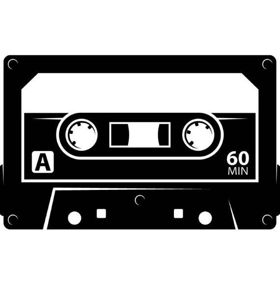 Cassette Tape #2 Album Audio Recording Media Record Music Vintage Retro  .SVG .EPS .PNG Digital Clipart Vector Cricut Cut Cutting Download.