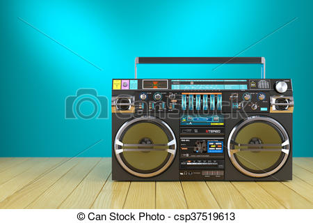 Clipart of Retro cassette tape recorder on wooden table 3d.