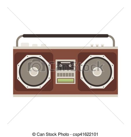 Vector Clipart of Cassette Tape Recorder.