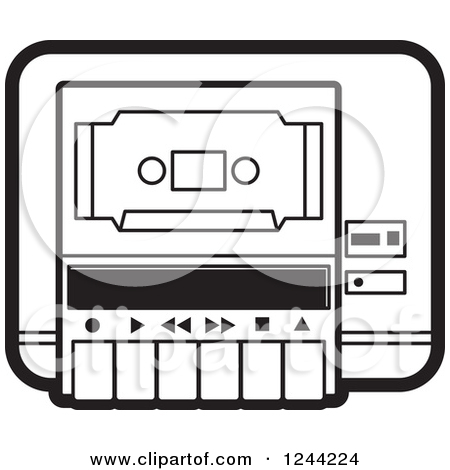 Clipart of a Black and White Cassette Tape in a Player.