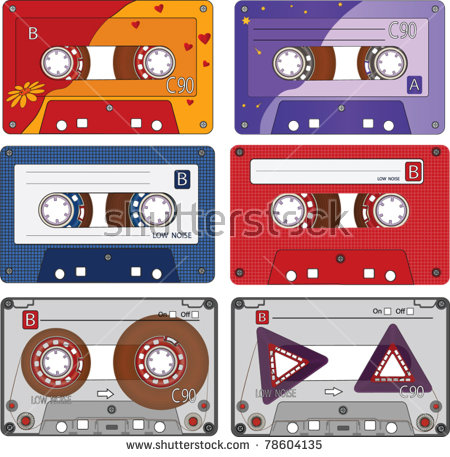 Complete Set Different Audio Cassettes Tapes Stock Vector 78604135.