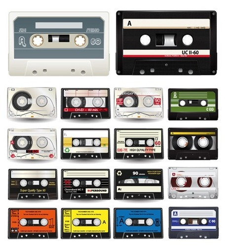Audio Cassettes Vector Collection, Cliparts.