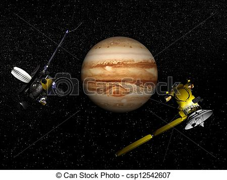 Stock Illustration of Galileo and Cassini spacecraft next to.