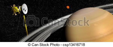 Clipart of Cassini spacecraft near Saturn and titan satellite.